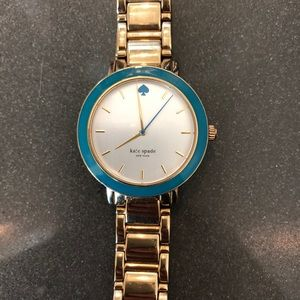 Kate Spade gold watch with turquoise accents